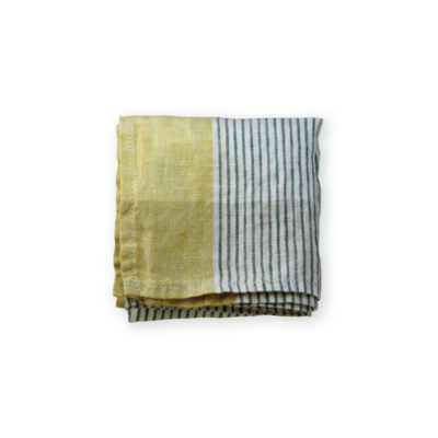 Lino e Lina linnen zakdoek Delfi groen/geel